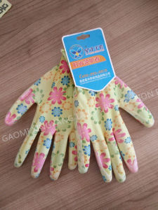 Flower Printed Nitrile Coated Ladies Gardening Safety Work Glove (N6024) pictures & photos