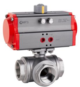 Pneumatic Ball Valve -Three Way pictures & photos