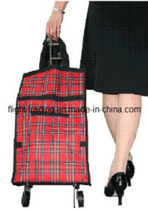 Folded Shopping Trolley Bag with Wheels for Advertisement