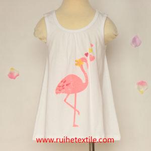 100% Cotton Fashion Water/Gold Print Sleeveless T-Shirt for Girls