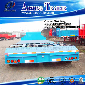 80tons Recessed Low Bed Trailer, Excavator Transport Lowbed Trailer pictures & photos