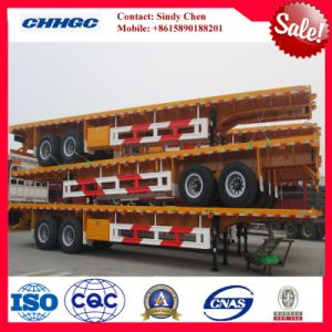 Three BPW/Fuwa Axles 20-53ft Platform Semi Trailer for Container Transport pictures & photos