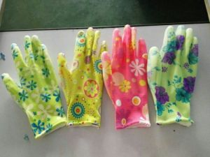 Flower Printed Nitrile Coated Work Glove Ladies Garden Gloves pictures & photos