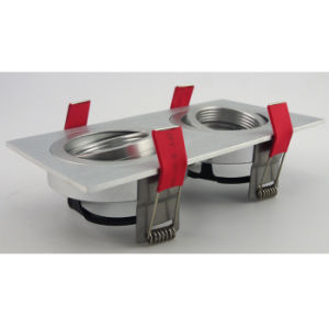 Lathe Aluminum GU10 MR16 Multi-Angle 2 Units Square Recessed Tilt Down Light (LT2303B-2) pictures & photos