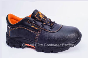 Low Cut Black Embossed PU Leather Safety Shoe Kingpec-O1