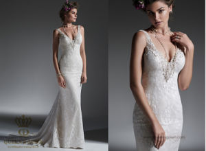 Chapel Train Lace Wedding Gown with Beading Sequins Bridal Dresses pictures & photos