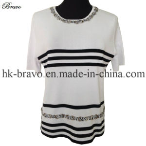 Ladies Knitted Stripe Sweater (1319)