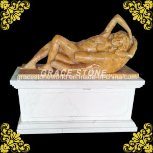 Natural Yellow Marble Lying Lady Sculpture pictures & photos