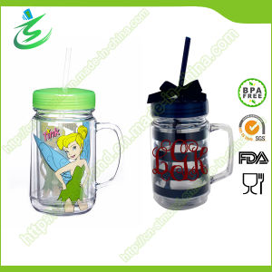 24oz BPA-Free Double Wall Plastic Mason Jar with Straw pictures & photos