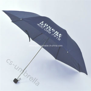 Pongee Canopy 4 Folding or Fold Umbrella with Pouch (YS4F0005) pictures & photos