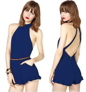 OEM Sexy Open-Back 100% Chiffon Pattern Women Jumpsuit pictures & photos