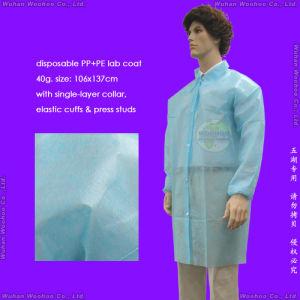 Disposable PP+PE Lab Coat, Disposable PP+PE Laboratory Coat pictures & photos