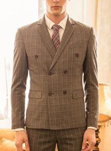 Plaid Man Suit Nusiness Leisure Suit for Man (ST213-11)