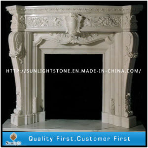 Carved Beige Color Marble Stone Fireplace for Indoor Decoration pictures & photos