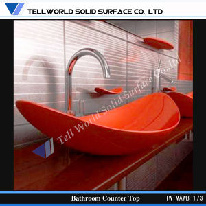 Tw Modern Design Special Shape Marble Solid Surface Red Bathroom Basin pictures & photos