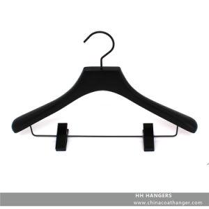 Black Wooden Suit Clothes Hanger for Closet Shop Display Clips Clothes Hanger for Suit Jacket pictures & photos