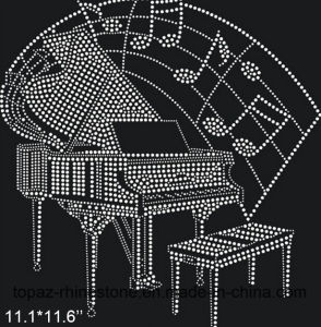 Clear Crystal Beads Heat Transfer Design Rhinestone Transfer for T Shirt (TP-119 Piano) pictures & photos