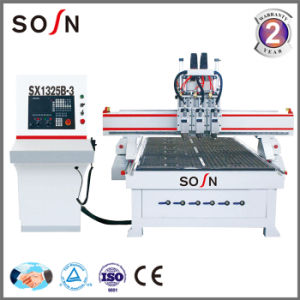 Woodworking Machine Three Heads CNC Router with Drilling Group pictures & photos