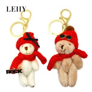 Fashion Teddy Bear with Red Hat Sunglasses Key Chain pictures & photos