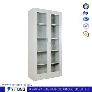 2-Door Glass Door Metal Storage Cabinet / Office Use Steel File Cabinet pictures & photos