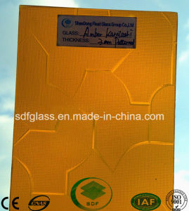 Amber Karatachi Patterned Glass with Ce, ISO (3-8mm) pictures & photos