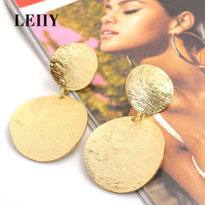 Fashion Gold-Color Alloy Jewelry Double Round Drop Dangle Earrings  pictures & photos