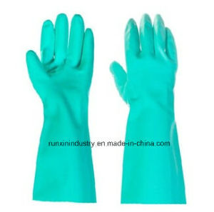 Green Household Nitrile Gloves 15mil, 22mil pictures & photos
