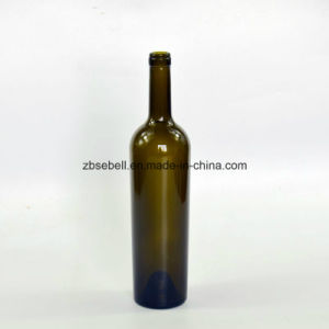 1.2kg Taper Shape Glass Wine Bottle with Cork Finish 750ml pictures & photos