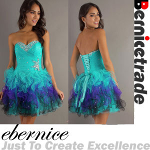 Mini Organza Beadeding Blue Prom Gown Cocktail Dress