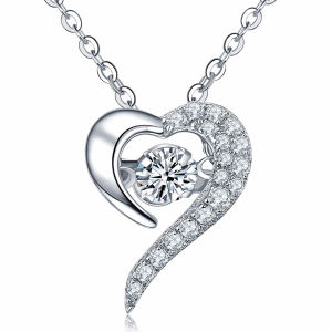 Heart Shape 925 Silver Pendants Necklace Dancing Diamond Jewelry pictures & photos