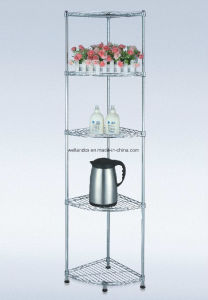 Home Storage 5 Tiers Chrome Metal Fan-Shaped Corner Wire Rack, Loading 30kg Per Shelf pictures & photos