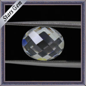 White Oval Checkerboard Facet Cubic Zirconia pictures & photos