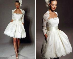 Short Bridal Dress Lace Bolero Jacket Mini Wedding Gowns A61 pictures & photos