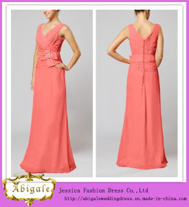 V-Neck Sleeveless Floor Length Coral Mother of The Bride Dress (MI 3535)