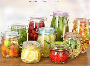 Machine Made Glass Jar with Metal Clip / Glass Storage Jar, Food Storage Container