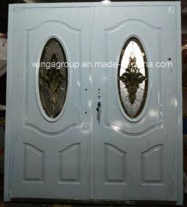 Europ Brown Color Popular Security Steel Metal Door (W-S-52) pictures & photos