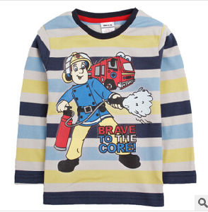 The New Autumn of 2014 Boy Firefighters Long Sleeve Stripe Printed T-Shirts Children′s Clothing Render Unlined Upper Garment T-Shirt
