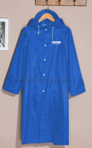 Outdoor Travel Working Camping Good Quality Polyester Coated Rain Coat with Cap pictures & photos
