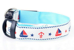Fashionable Sailor Print USB Flashing Dog Collar with Button Cell Battery