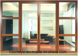 Wood Grain Color Residential Double Glass Aluminum Casement Door with Australian Standard pictures & photos