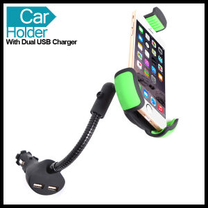 GPS Mobile Phone Cell Smartphone Car Mount Holder with Dual USB Charger pictures & photos