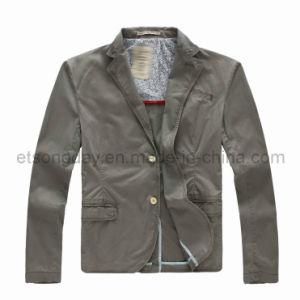 Gray 100% Cotton Men′s Casual Fashiob Blazer (GDJ-42) pictures & photos