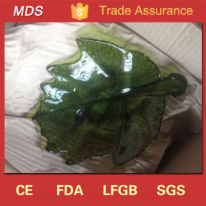 Hot Selling Olive Green Leaf Shaped Glass Dish for Dinnerware pictures & photos