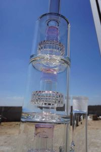 Wholesale Prices Glass Smoking Water Pipe with Triple Barrel Percs pictures & photos