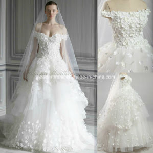Ball Gown off--Shoulder Floor Length Sweep Train Handmade Flower Tulle Bridal Wedding Gown We14 pictures & photos