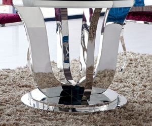 1.3meter Round Table Glass on Top Dining Table Home Furniture pictures & photos