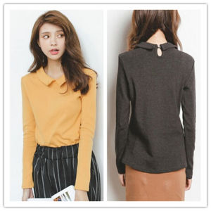 2015 Fashion Autumn& Winter Simple Peter Pan Collar Inner Wear Long Sleeve T-Shirt for Wholesale pictures & photos