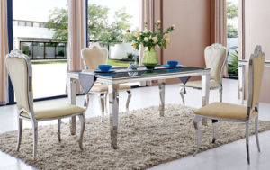 Modern Dining Room Tempered Glass Top Dining Table with Chairs pictures & photos