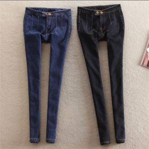 P1147 High Wais Tslim Fleece Thicken Denim Long Jeans 26-36 pictures & photos