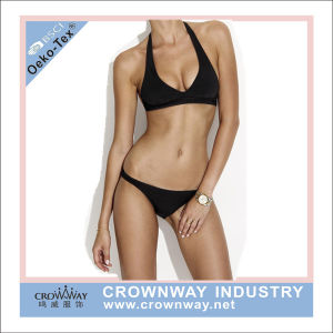 Women Girl Fashion Wholesale Black Sexy Bikini Halter Swimwear pictures & photos